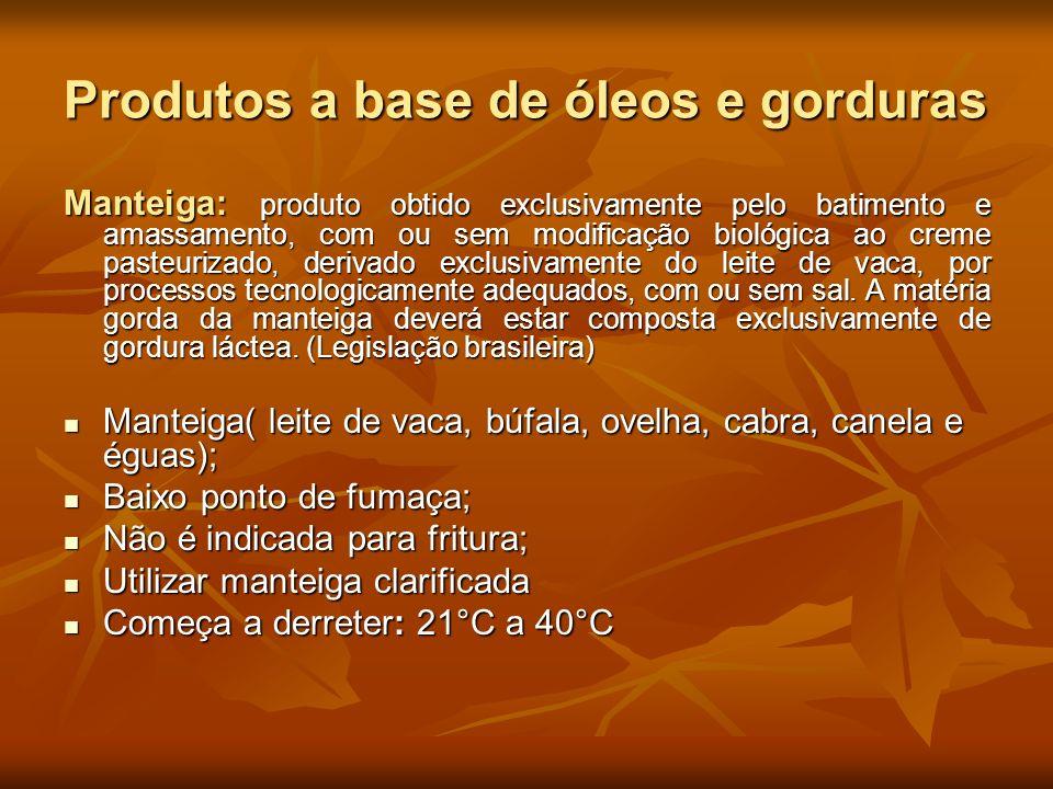 Produtos a base de óleos e gorduras Manteiga: produto obtido exclusivamente pelo batimento e amassamento, com ou sem modificação biológica ao creme pa