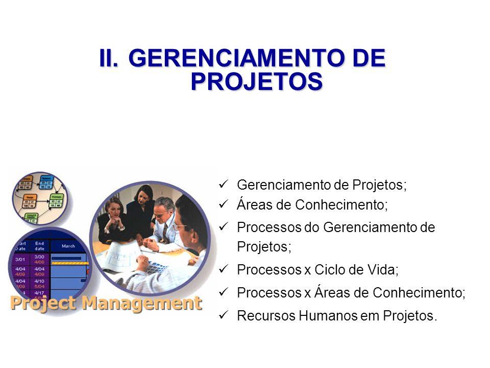Gerenciamento de Projetos; Áreas de Conhecimento; Processos do Gerenciamento de Projetos; Processos x Ciclo de Vida; Processos x Áreas de Conhecimento