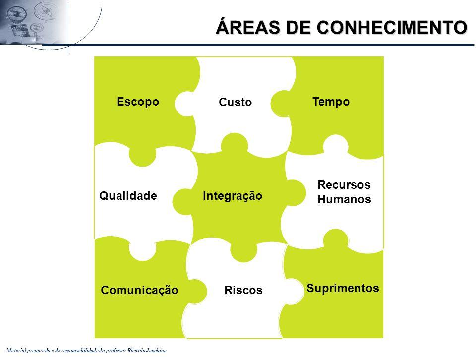 Material preparado e de responsabilidade do professor Ricardo Jacobina Integração Qualidade Recursos Humanos Escopo Custo Tempo Riscos Comunicação Sup