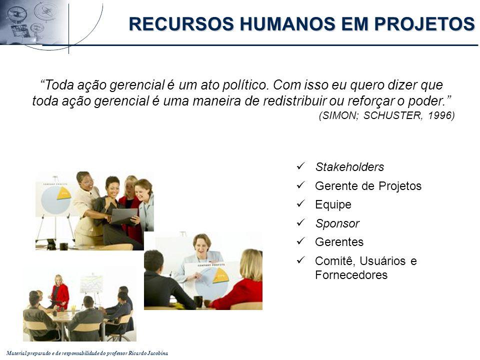Material preparado e de responsabilidade do professor Ricardo Jacobina Toda ação gerencial é um ato político. Com isso eu quero dizer que toda ação ge