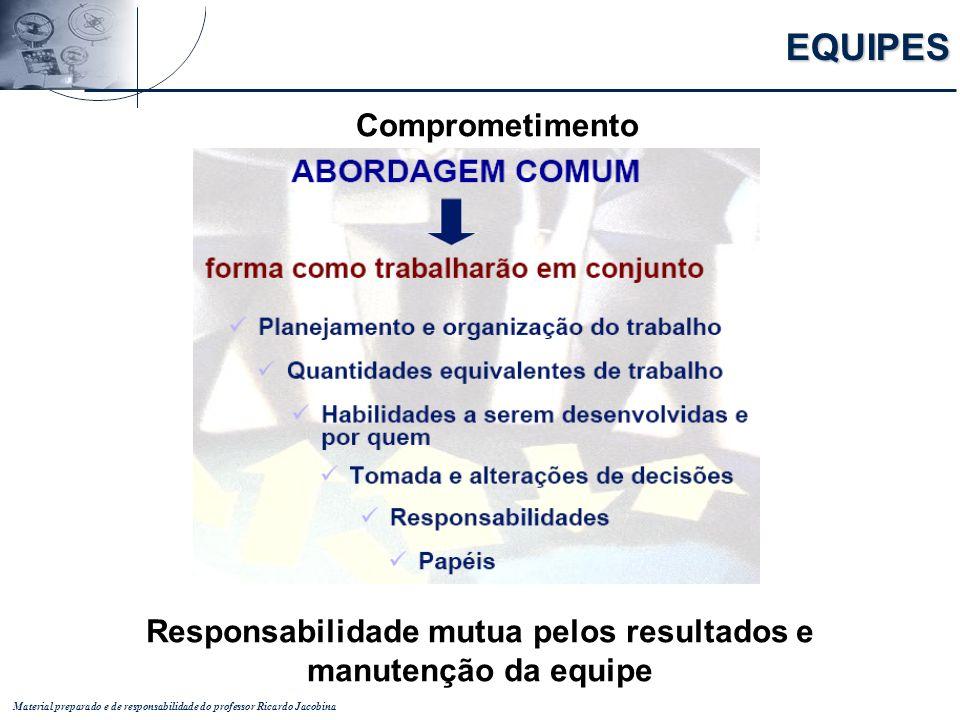 Material preparado e de responsabilidade do professor Ricardo Jacobina EQUIPES Comprometimento Responsabilidade mutua pelos resultados e manutenção da