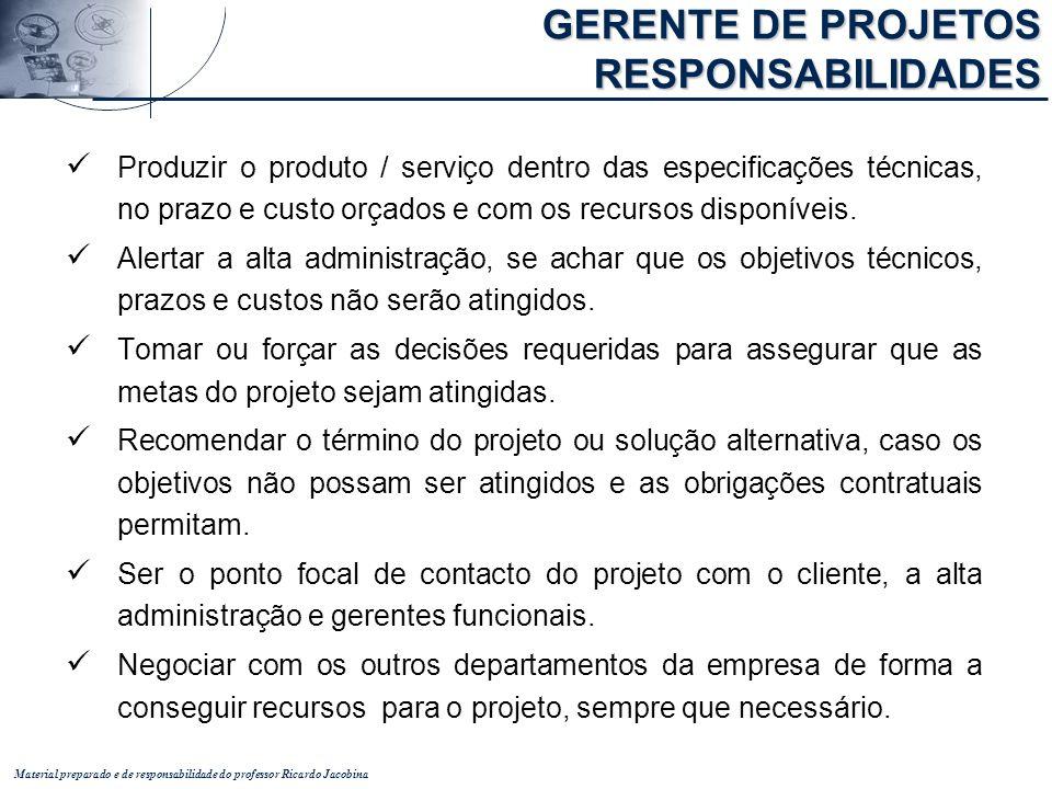 Material preparado e de responsabilidade do professor Ricardo Jacobina Produzir o produto / serviço dentro das especificações técnicas, no prazo e cus