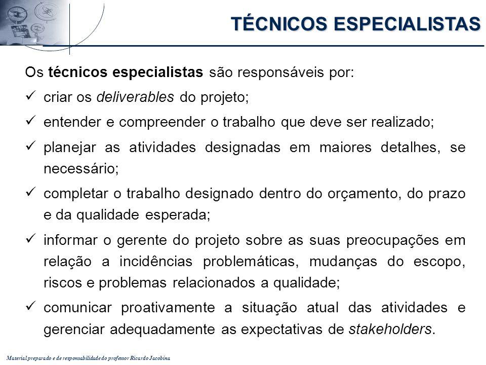 Material preparado e de responsabilidade do professor Ricardo Jacobina Os técnicos especialistas são responsáveis por: criar os deliverables do projet