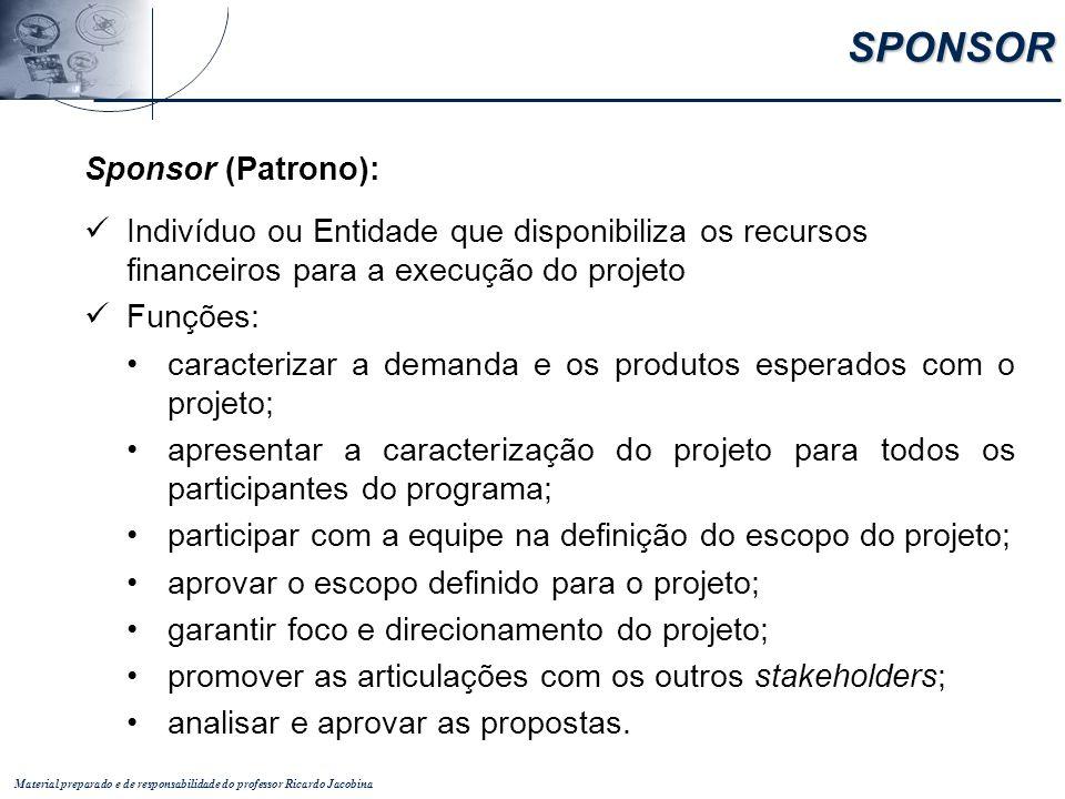 Material preparado e de responsabilidade do professor Ricardo Jacobina Sponsor (Patrono): Indivíduo ou Entidade que disponibiliza os recursos financei