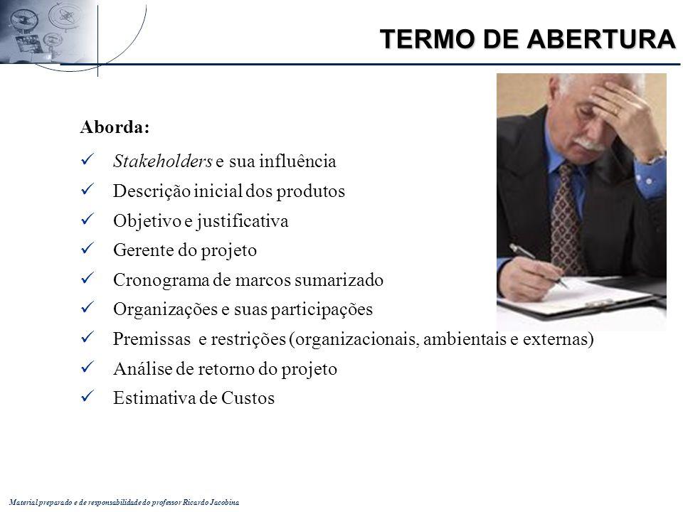 Material preparado e de responsabilidade do professor Ricardo Jacobina Aborda: Stakeholders e sua influência Descrição inicial dos produtos Objetivo e