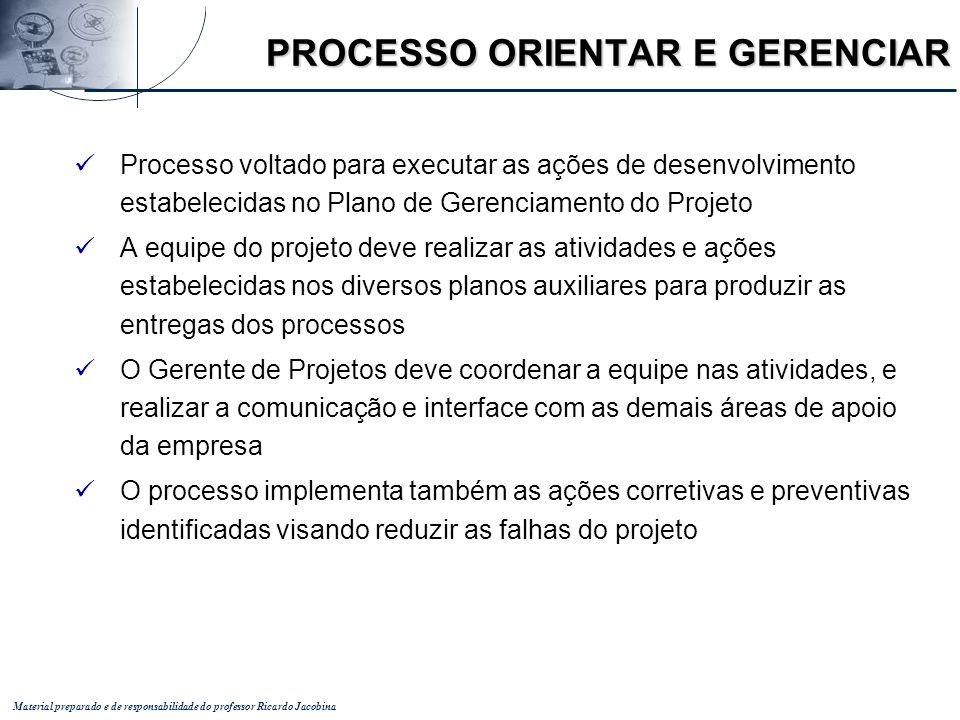 Material preparado e de responsabilidade do professor Ricardo Jacobina Processo voltado para executar as ações de desenvolvimento estabelecidas no Pla