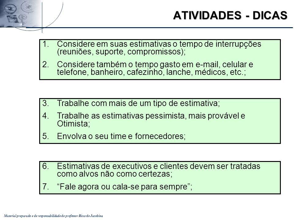 Material preparado e de responsabilidade do professor Ricardo Jacobina ATIVIDADES - DICAS 3.Trabalhe com mais de um tipo de estimativa; 4.Trabalhe as