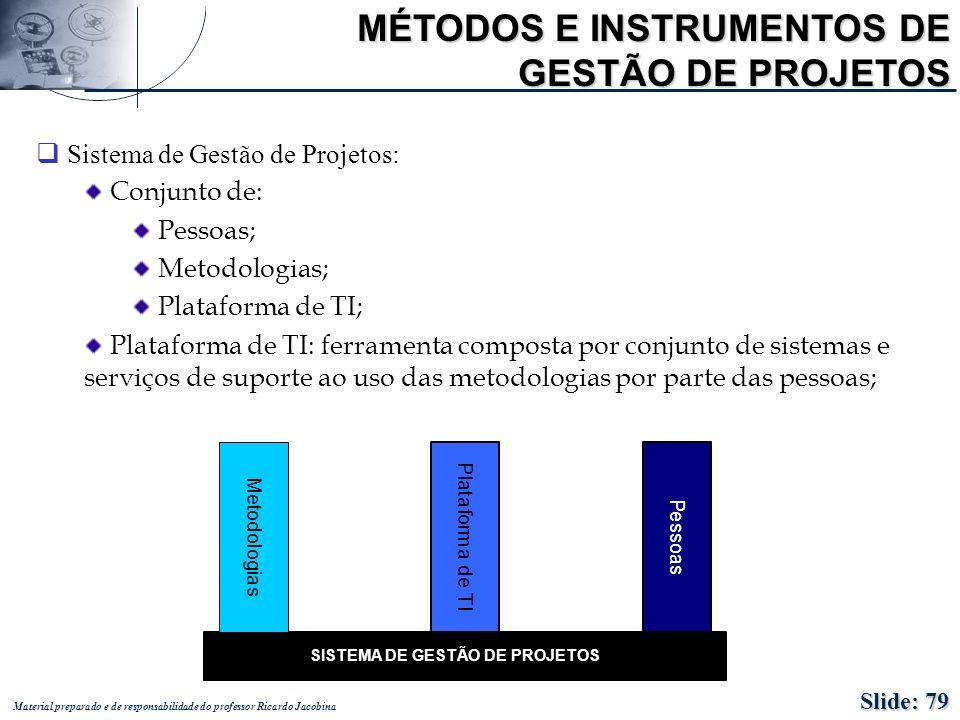 Material preparado e de responsabilidade do professor Ricardo Jacobina MÉTODOS E INSTRUMENTOS DE GESTÃO DE PROJETOS q Sistema de Gestão de Projetos: C