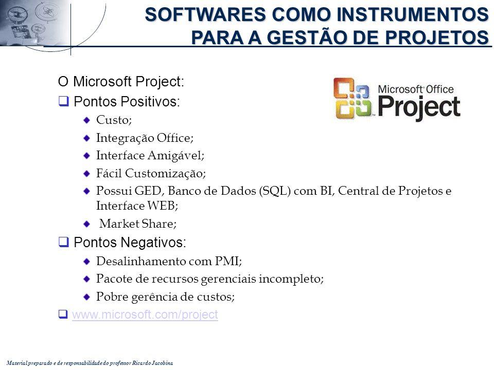 Material preparado e de responsabilidade do professor Ricardo Jacobina O Microsoft Project: q Pontos Positivos: Custo; Integração Office; Interface Am