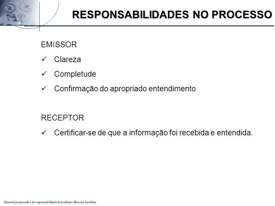 Material preparado e de responsabilidade do professor Ricardo Jacobina RESPONSABILIDADES NO PROCESSO EMISSOR Clareza Completude Confirmação do apropri