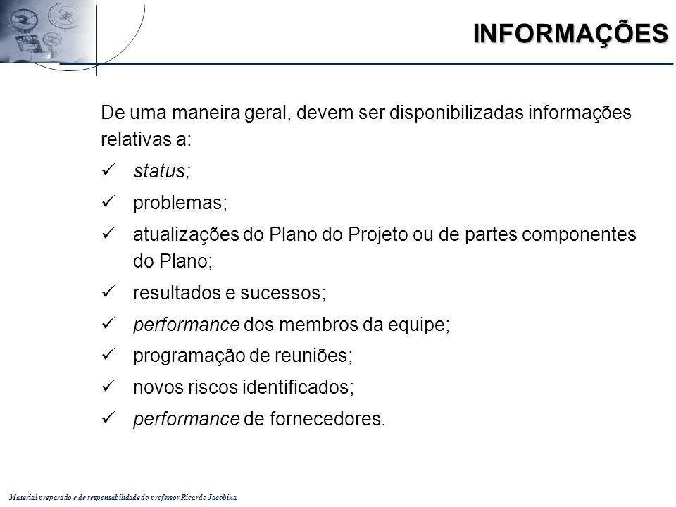 Material preparado e de responsabilidade do professor Ricardo Jacobina INFORMAÇÕES De uma maneira geral, devem ser disponibilizadas informações relati