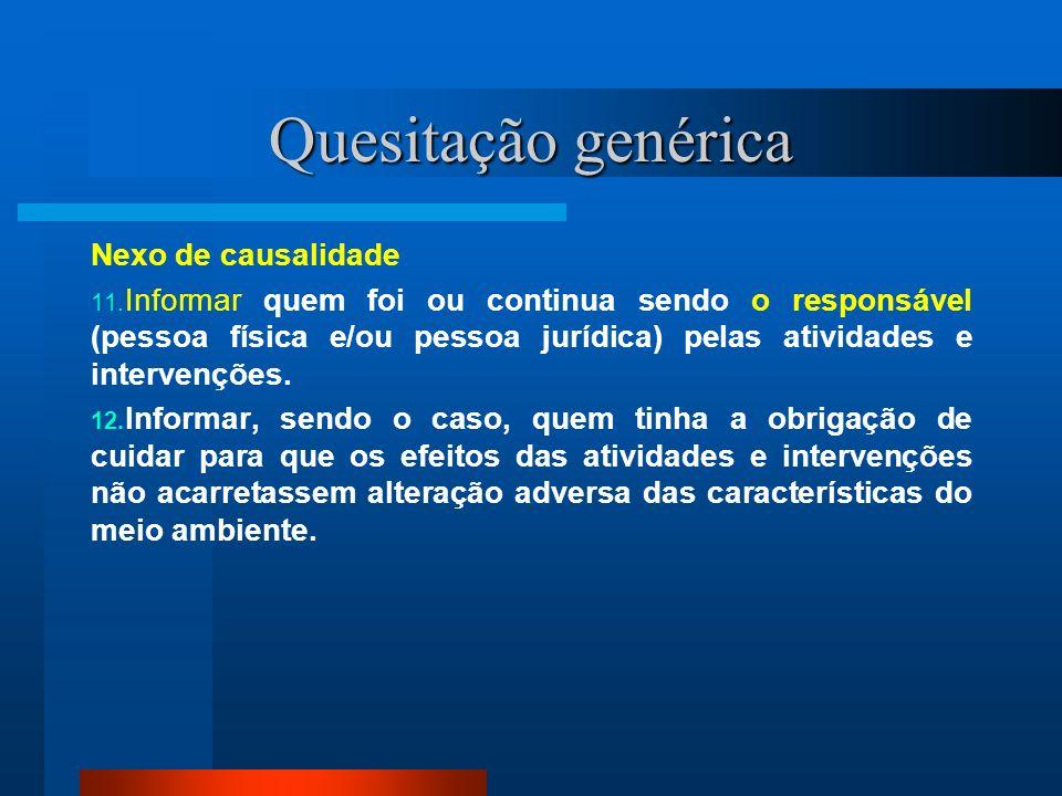 Quesitação genérica Nexo de causalidade 11. Informar quem foi ou continua sendo o responsável (pessoa física e/ou pessoa jurídica) pelas atividades e