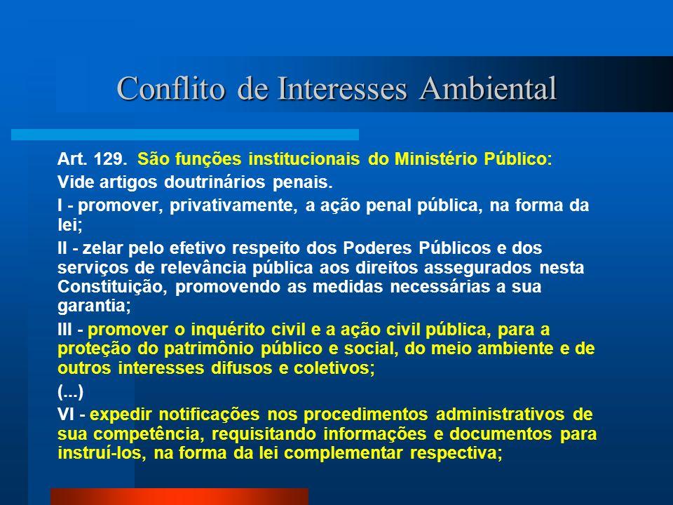 Conflito de Interesses Ambiental Art. 129. São funções institucionais do Ministério Público: Vide artigos doutrinários penais. I - promover, privativa