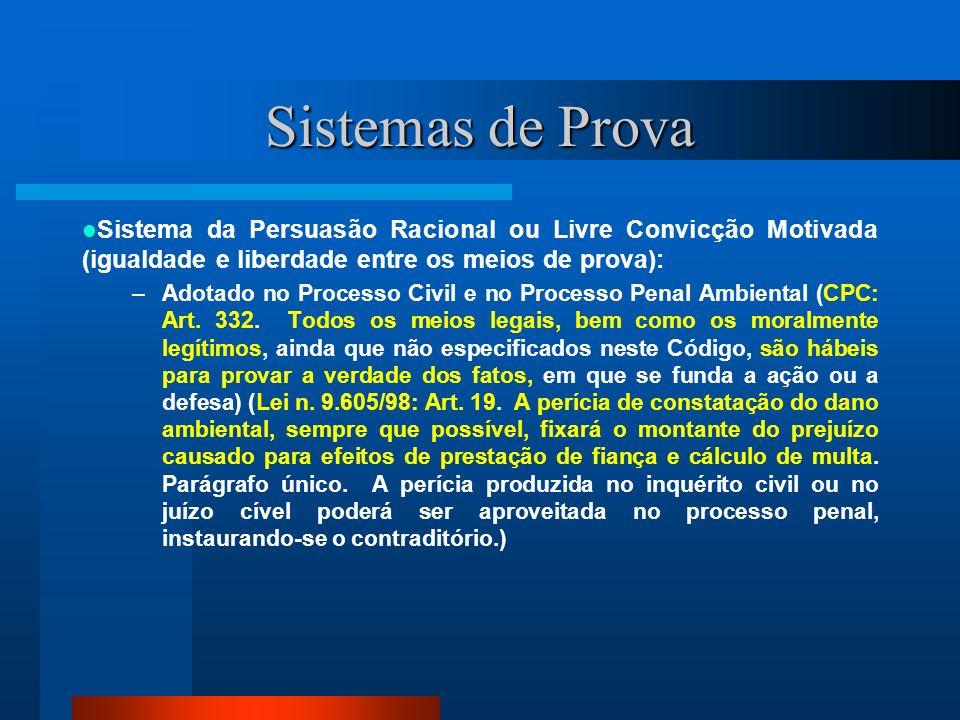 Sistemas de Prova Sistema da Prova Legal ou Formal: –Adotado no Processo Penal nas infrações que deixam vestígios (CPP: Art.