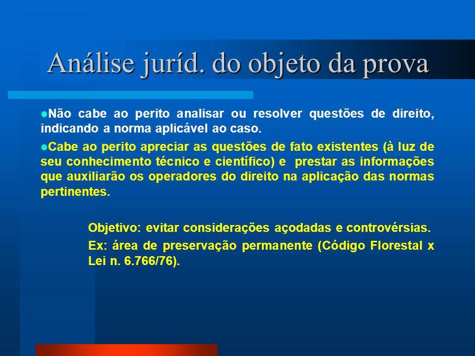 Análise juríd. do objeto da prova Não cabe ao perito analisar ou resolver questões de direito, indicando a norma aplicável ao caso. Cabe ao perito apr