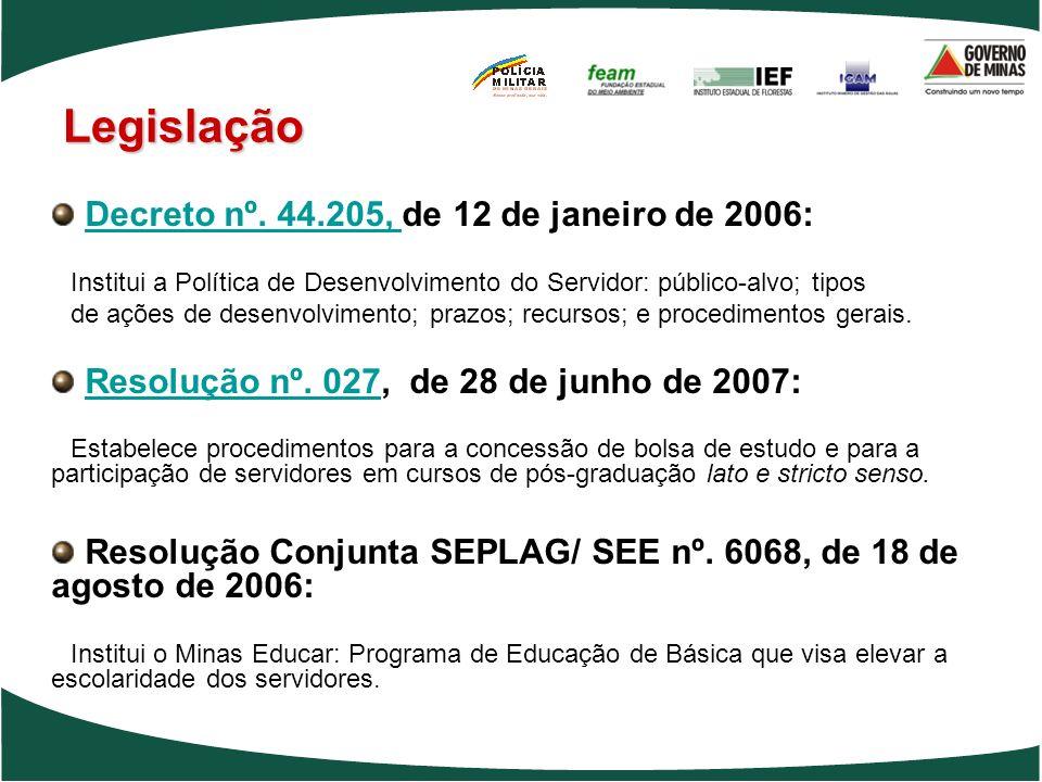Decreto nº. 44.205, de 12 de janeiro de 2006:Decreto nº. 44.205, Institui a Política de Desenvolvimento do Servidor: público-alvo; tipos de ações de d