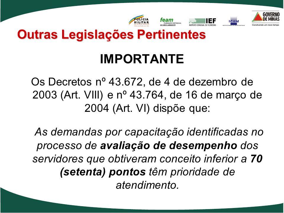 IMPORTANTE Os Decretos nº 43.672, de 4 de dezembro de 2003 (Art. VIII) e nº 43.764, de 16 de março de 2004 (Art. VI) dispõe que: As demandas por capac