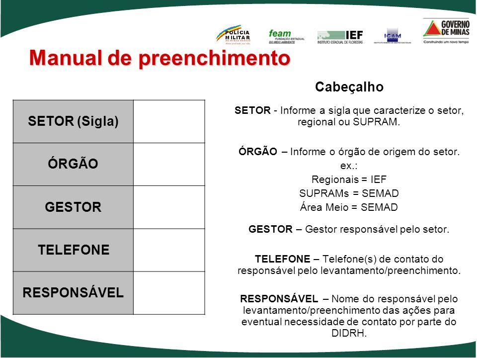Cabeçalho SETOR - Informe a sigla que caracterize o setor, regional ou SUPRAM. ÓRGÃO – Informe o órgão de origem do setor. ex.: Regionais = IEF SUPRAM