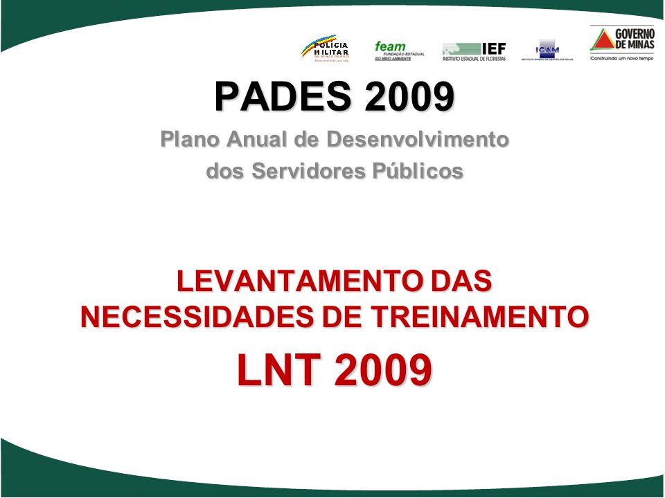 LEVANTAMENTO DAS NECESSIDADES DE TREINAMENTO LNT 2009 PADES 2009 Plano Anual de Desenvolvimento dos Servidores Públicos