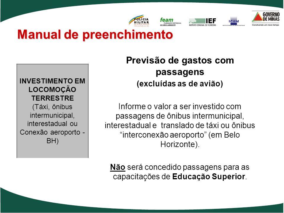 Manual de preenchimento Previsão de gastos com passagens (excluídas as de avião) Informe o valor a ser investido com passagens de ônibus intermunicipa