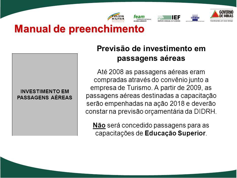 Manual de preenchimento Previsão de investimento em passagens aéreas Até 2008 as passagens aéreas eram compradas através do convênio junto a empresa d
