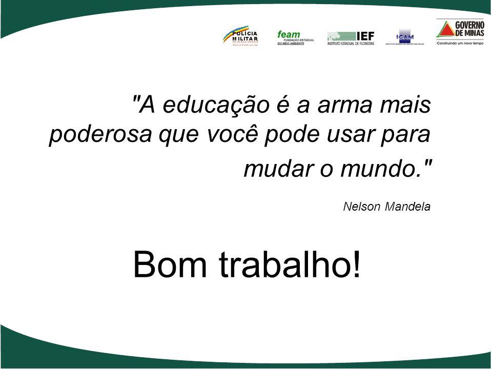 A educação é a arma mais poderosa que você pode usar para mudar o mundo. Nelson Mandela Bom trabalho!