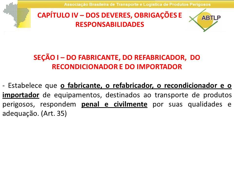 SEÇÃO I – DO FABRICANTE, DO REFABRICADOR, DO RECONDICIONADOR E DO IMPORTADOR - Estabelece que o fabricante, o refabricador, o recondicionador e o impo
