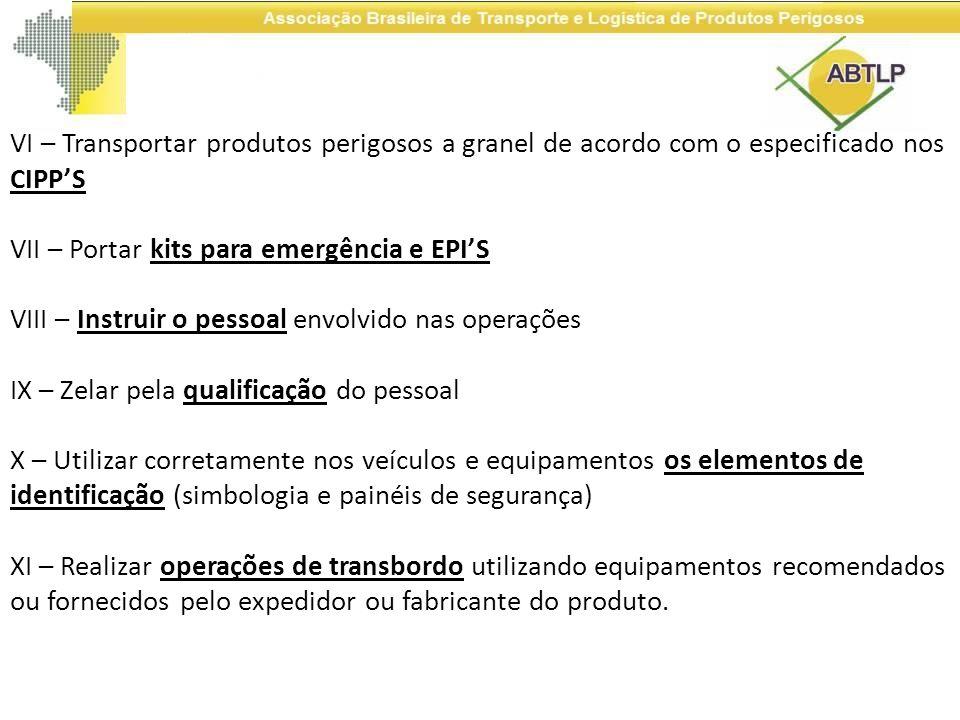 VI – Transportar produtos perigosos a granel de acordo com o especificado nos CIPPS VII – Portar kits para emergência e EPIS VIII – Instruir o pessoal