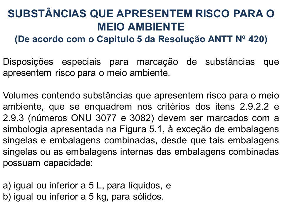 SUBSTÂNCIAS QUE APRESENTEM RISCO PARA O MEIO AMBIENTE (De acordo com o Capitulo 5 da Resolução ANTT Nº 420) Disposições especiais para marcação de sub