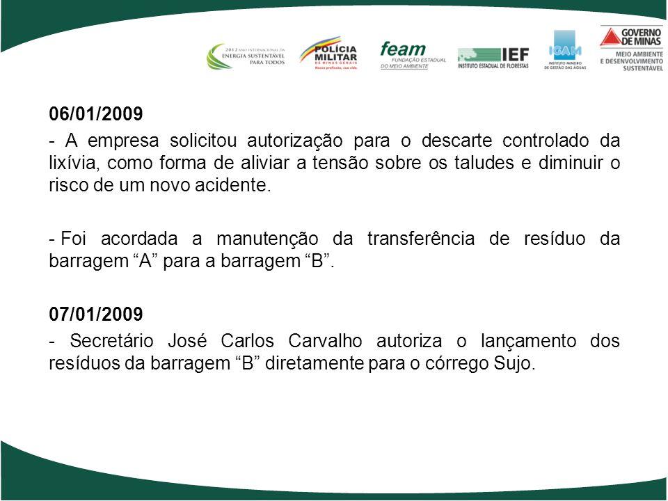 06/01/2009 - A empresa solicitou autorização para o descarte controlado da lixívia, como forma de aliviar a tensão sobre os taludes e diminuir o risco de um novo acidente.
