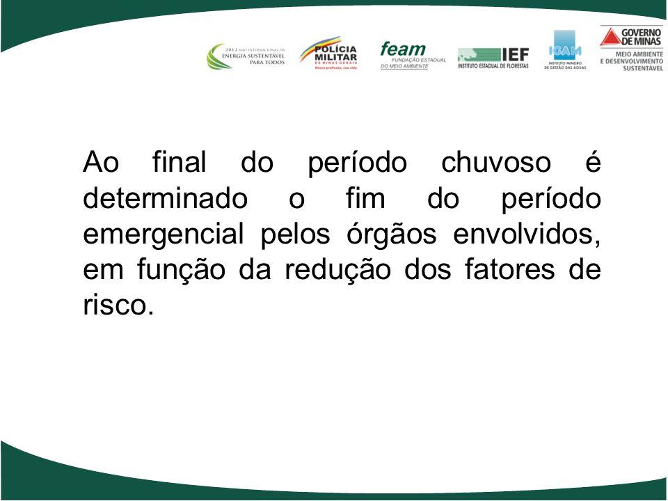 Ao final do período chuvoso é determinado o fim do período emergencial pelos órgãos envolvidos, em função da redução dos fatores de risco.