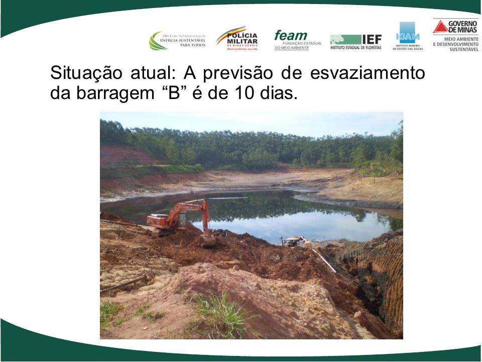 Situação atual: A previsão de esvaziamento da barragem B é de 10 dias.
