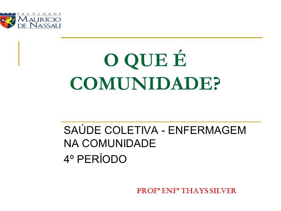 O QUE É COMUNIDADE? SAÚDE COLETIVA - ENFERMAGEM NA COMUNIDADE 4º PERÍODO PROFª ENFª THAYS SILVER