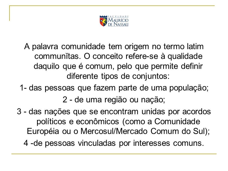 A palavra comunidade tem origem no termo latim communĭtas. O conceito refere-se à qualidade daquilo que é comum, pelo que permite definir diferente ti