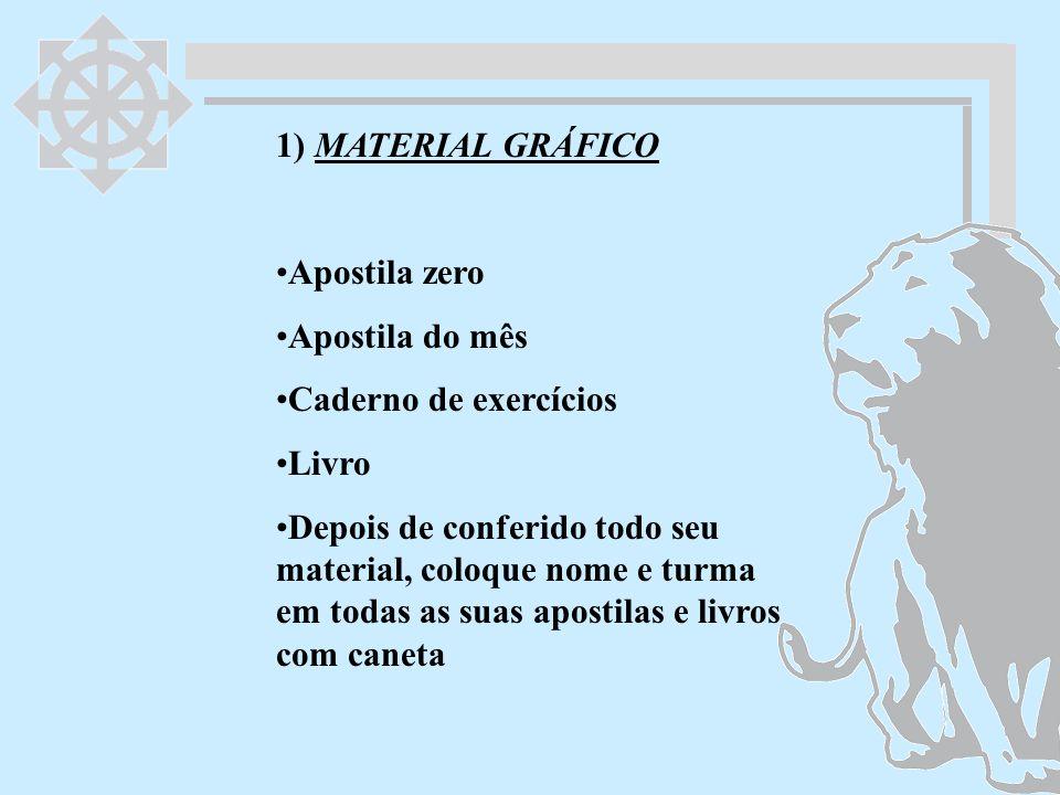 1) MATERIAL GRÁFICO Apostila zero Apostila do mês Caderno de exercícios Livro Depois de conferido todo seu material, coloque nome e turma em todas as