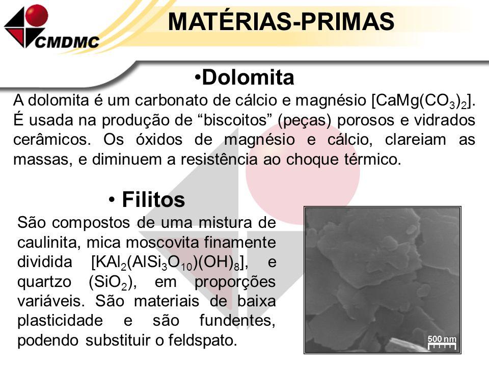 MATÉRIAS-PRIMAS Talco É constituído principalmente por silicato hidratado de magnésio [Mg 3 Si 4 O 10 (OH) 2 ]. Aumenta a resistência ao choque térmic