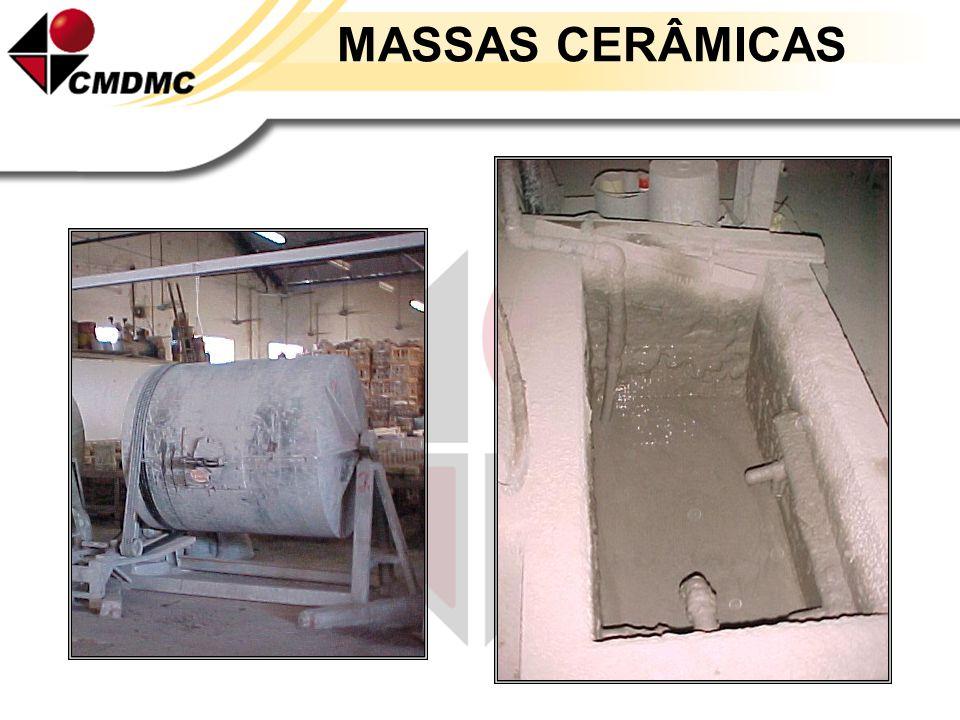 MASSAS CERÂMICAS Barbotinas Suspensão aquosa de materiais cerâmicos com água, suficientemente líquida para ser vertida. As matérias-primas com água, s