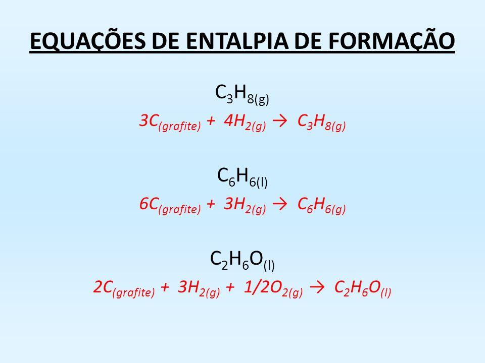 Entalpia de Formação Variação de entalpia envolvida na formação de um mol de substância a partir de substâncias simples no estado padrão C (grafite) +
