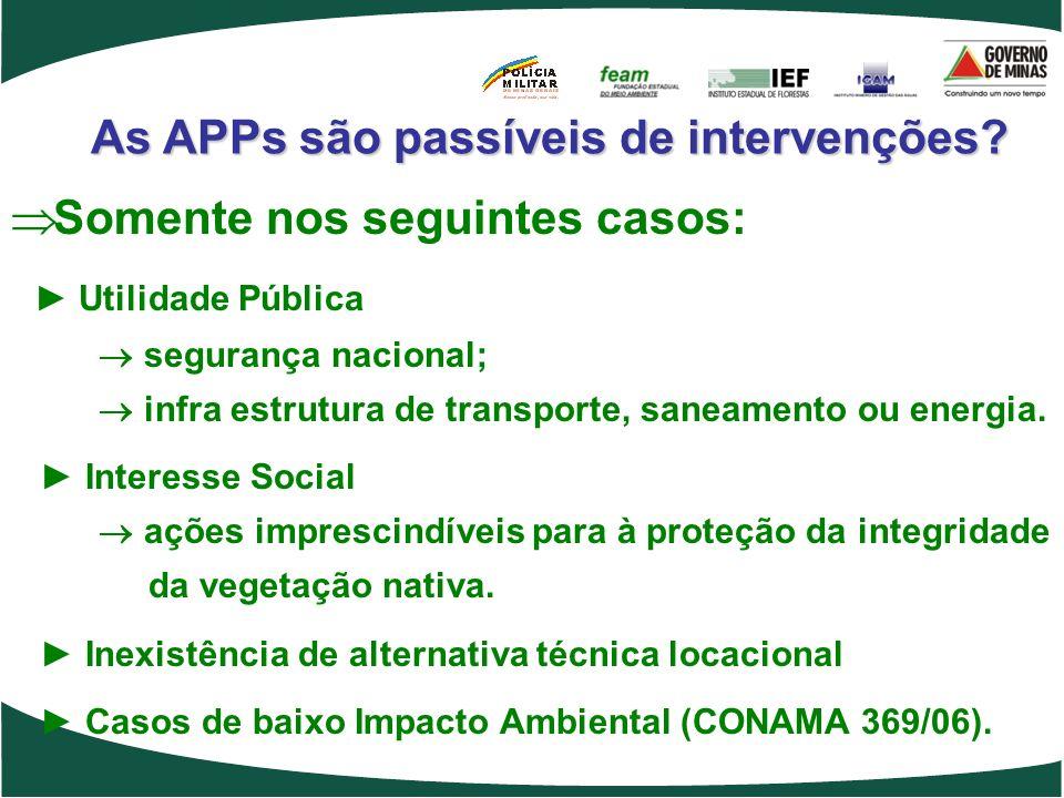 As APPs são passíveis de intervenções? Somente nos seguintes casos: Utilidade Pública segurança nacional; infra estrutura de transporte, saneamento ou