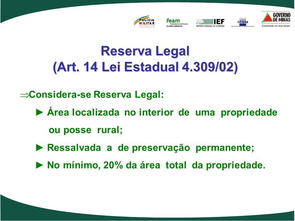 Reserva Legal (Art. 14 Lei Estadual 4.309/02) Considera-se Reserva Legal: Área localizada no interior de uma propriedade ou posse rural; Ressalvada a
