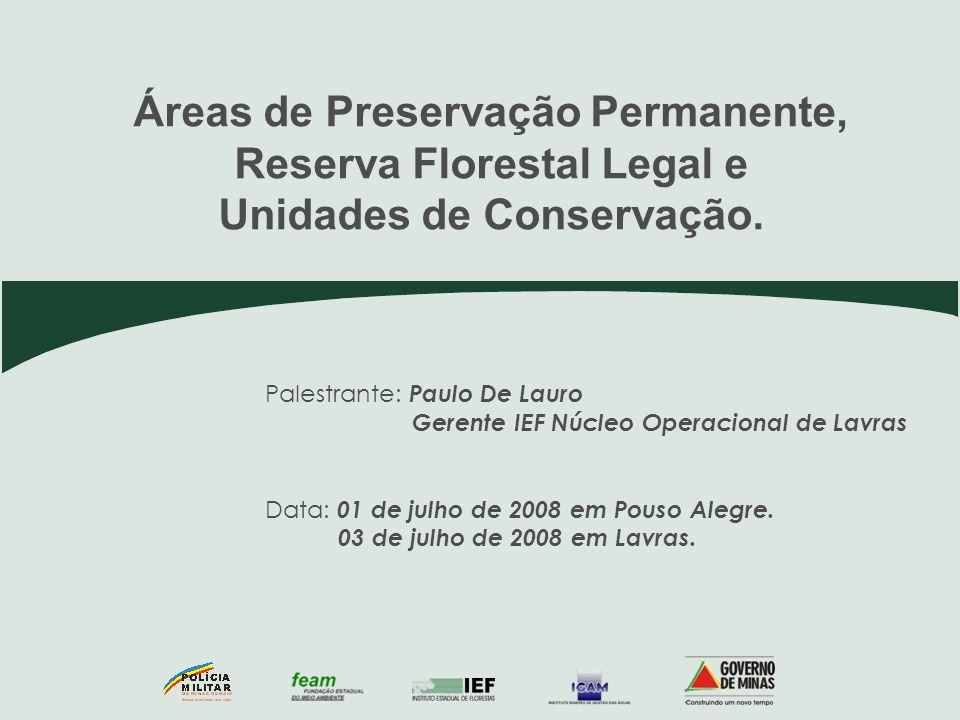 Palestrante: Paulo De Lauro Gerente IEF Núcleo Operacional de Lavras Data: 01 de julho de 2008 em Pouso Alegre. 03 de julho de 2008 em Lavras. Áreas d