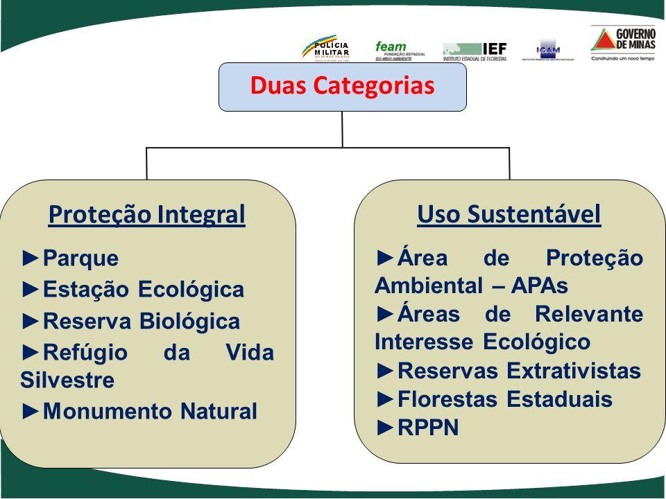 Duas Categorias Proteção Integral Parque Estação Ecológica Reserva Biológica Refúgio da Vida Silvestre Monumento Natural Uso Sustentável Área de Prote