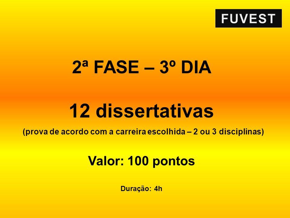 2ª FASE – 3º DIA 12 dissertativas (prova de acordo com a carreira escolhida – 2 ou 3 disciplinas) Valor: 100 pontos Duração: 4h