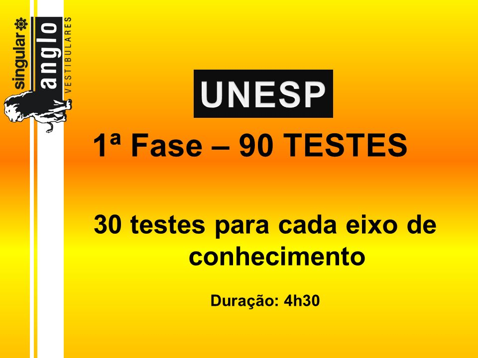 1ª Fase – 90 TESTES 30 testes para cada eixo de conhecimento Duração: 4h30