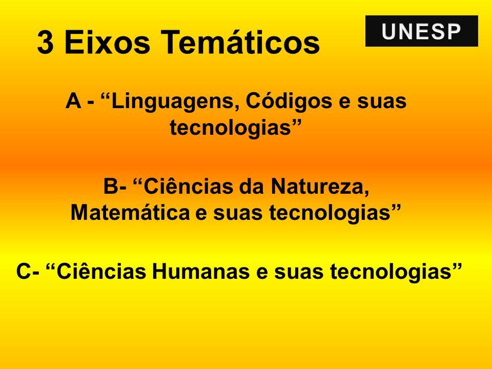 3 Eixos Temáticos A - Linguagens, Códigos e suas tecnologias B- Ciências da Natureza, Matemática e suas tecnologias C- Ciências Humanas e suas tecnolo
