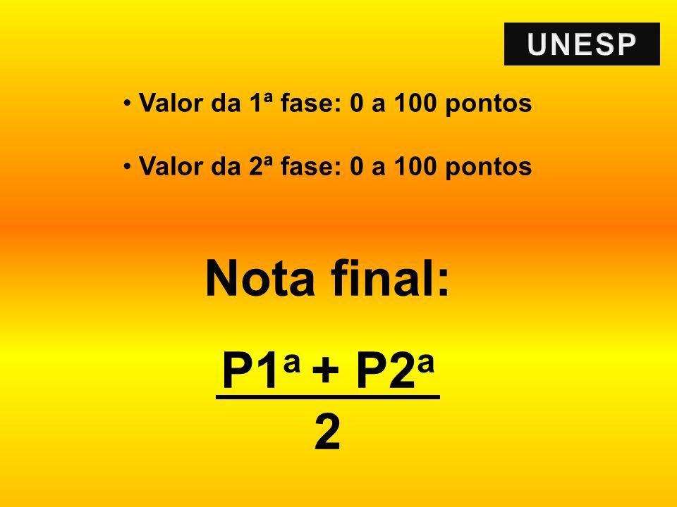 Valor da 1ª fase: 0 a 100 pontos Valor da 2ª fase: 0 a 100 pontos Nota final: P1 a + P2 a 2