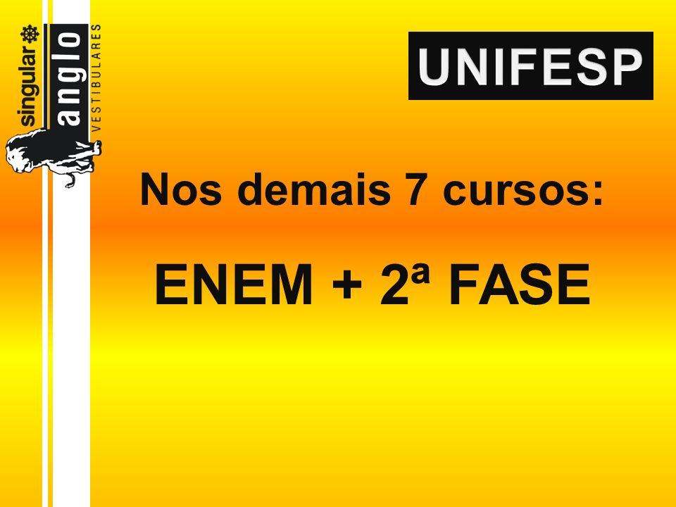 Nos demais 7 cursos: ENEM + 2ª FASE