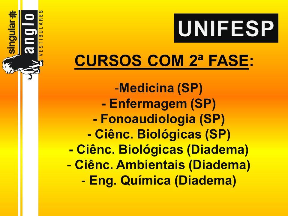 -Medicina (SP) - Enfermagem (SP) - Fonoaudiologia (SP) - Ciênc. Biológicas (SP) - Ciênc. Biológicas (Diadema) - Ciênc. Ambientais (Diadema) - Eng. Quí