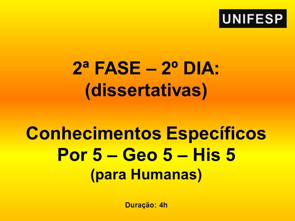 2ª FASE – 2º DIA: (dissertativas) Conhecimentos Específicos Por 5 – Geo 5 – His 5 (para Humanas) Duração: 4h