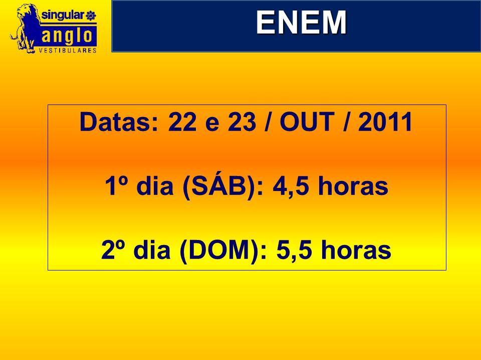 ENEM Datas: 22 e 23 / OUT / 2011 1º dia (SÁB): 4,5 horas 2º dia (DOM): 5,5 horas